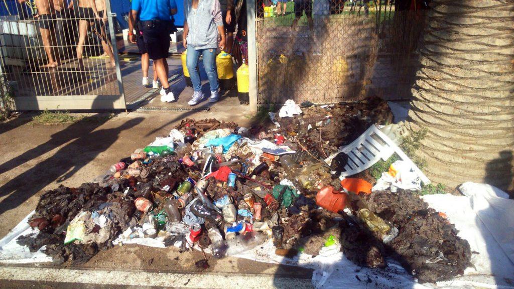 Residuos recogidos en la playa Mar Bella de Barcelona
